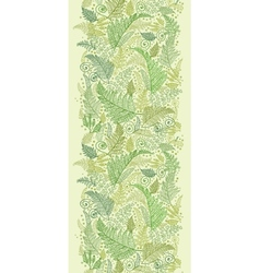 Green Fern Leaves Vertical Seamless Pattern Border vector