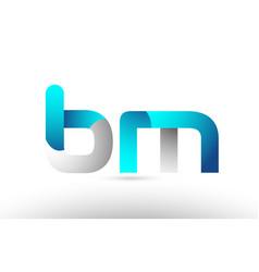 Grey blue alphabet letter bm b m logo 3d design vector