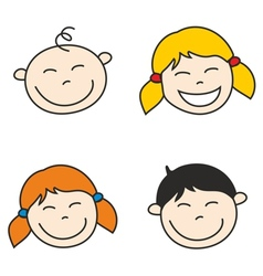 Happy kids and bahand drawn face vector