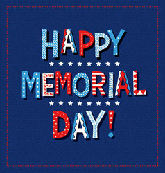 Happy memorial day 2020 in red white and blue vector