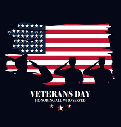 happy veterans day militaries silhouette over vector image