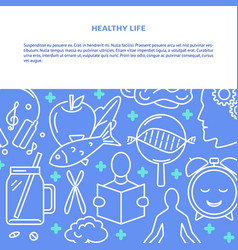 Healthy life concept background in line style with vector