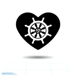 Heart black icon silhouette dharmachakra in vector