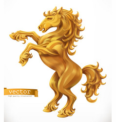 Horse gold emblem 3d icon vector
