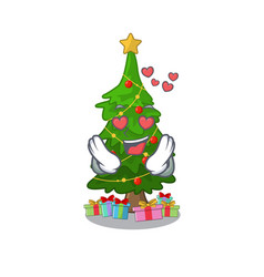in love christmas tree next to cartoon table vector image