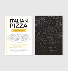 italian pizza card template special offer flyer vector image