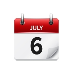 July 6 flat daily calendar icon date vector