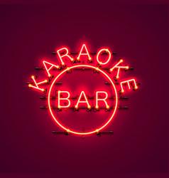 Karaoke bar neon signboard vector
