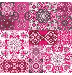 Large set colorful vintage ceramic tiles vector