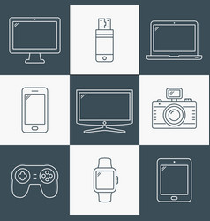 Line icons - digital devices vector