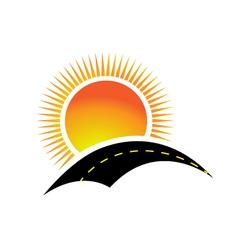 Logo sun and road vector