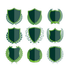 Luxury green badges laurel wreath collection vector