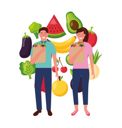 man and woman with bag grocery healthy food vector image