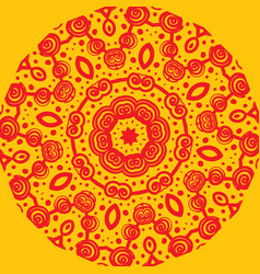 Mandala-like pattern on yellow vector