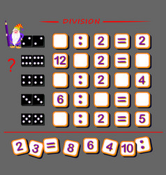 Mathematical exercises for kids find numbers vector