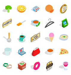 meal icons set isometric style vector image