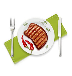 meat steak at with fork vector image