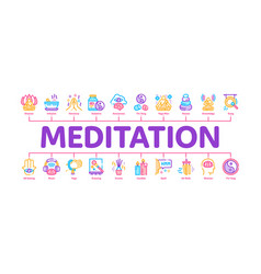 Meditation practice minimal infographic banner vector