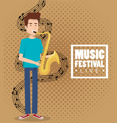 Music festival live with man playing saxophone vector