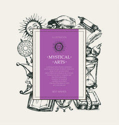 Mystical arts - modern drawn square postcard vector