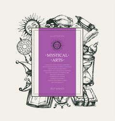 Mystical arts - modern drawn square postcard vector
