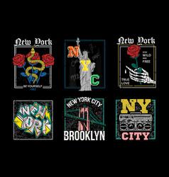 New york city usa nyc set vector