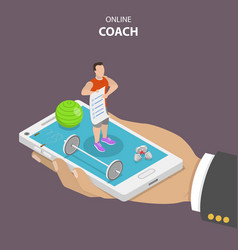 Online coach flat isometric concept vector