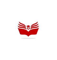 open book graduation hat library logo vector image