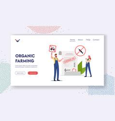 Organic farming landing page template farmers vector