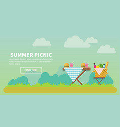 Outdoor picnic in park banner vector