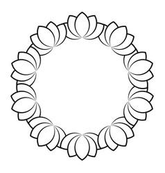 outline flowers circle frame design monochrome vector image
