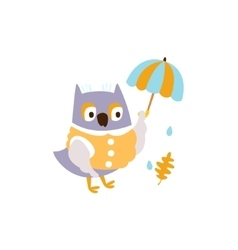 Owl In Jacket With Umbrella Under Rain In Autumn vector
