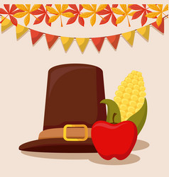 pilgrim hat of thanksgiving day with cob and apple vector image