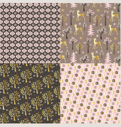Pink gold winter patterns vector