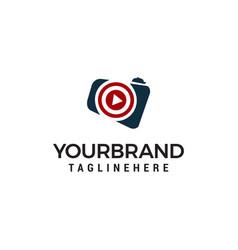 Play camera logo template design vector