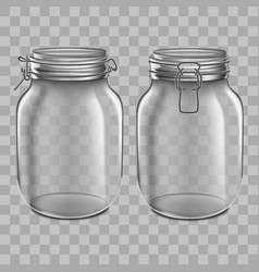 realistic 3d detailed glass jar with swing top set vector image