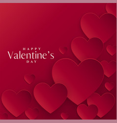 red hearts background for valentines day vector image