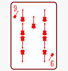 Red horned guitar nine vector