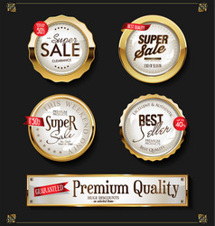 retro vintage shiny golden labels collection vector image