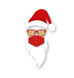 Santa claus head label wears red surgical mask vector