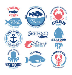 Seafood nautical vintage labels and vector