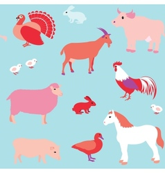 Seamless pattern with farm animals vector