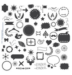 set 60 black random silhouette and line icons vector image