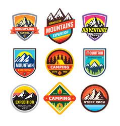 set of adventure outdoor concept badges summer vector image