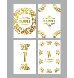 set of floral decorative logo frame border and vector