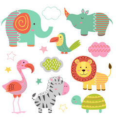 Set of isolated baby jungle animals part 2 vector