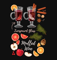 Set of mulled wine ingredients vector