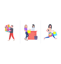 set people with colorful purchases big seasonal vector image