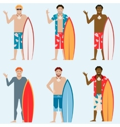set surfers vector image