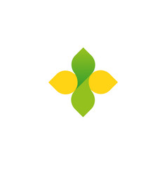 sign cross logo yellow and green vector image